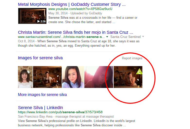 Serene Silva LocalSantaCruz.com article showing in Google image search results with the sponsor logo