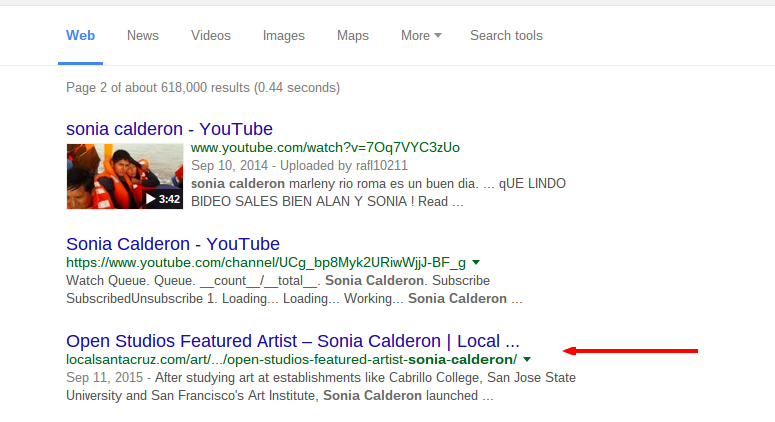 Sonia Calderon LocalSantaCruz.com article showing in Google search results